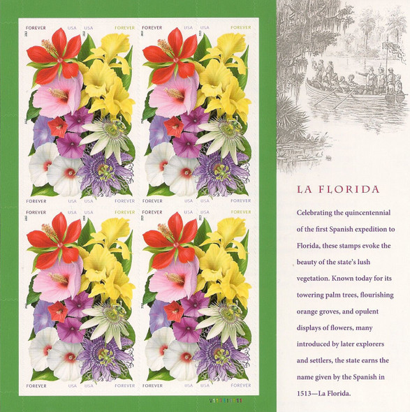 US (2013)-LaFlorida Flower Sheet of 16v- #4753a