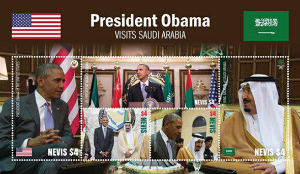 NEVIS (2016)- President Obama Visit to Saudi Arabia Sheet of 3 & souvenir sheet