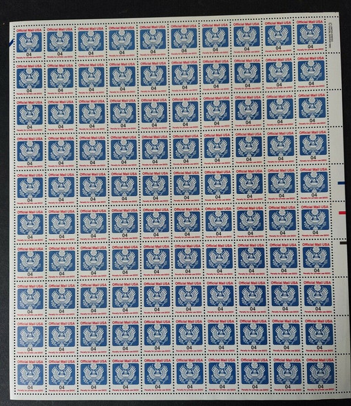 US (1983)- Official Mail 1c & 4c (O146-7) COMPLETE SHEETS OF 100