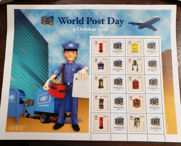 UNITED NATIONS (2016) LAST ONE, World Post  Day Sheet