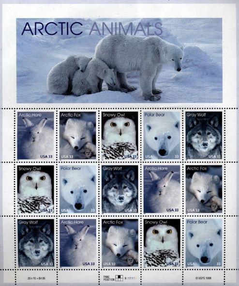 US (1999)- Arctic Animals Sheet of 12v- Polar Bear, Owl, Wolf, etc.