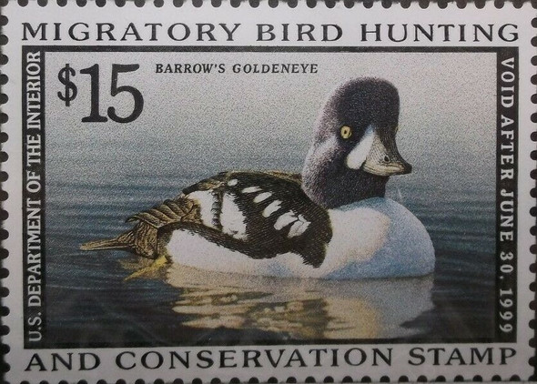 "US 1999 DUCK HUNTING $15-- ""BARROW'S GOLDENEYE"" MINT STAMP"