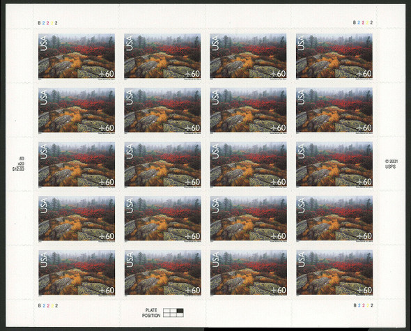 US (2001)- ACADIA NATIONAL PARK (AIR MAIL) SHEET OF 20- #C138