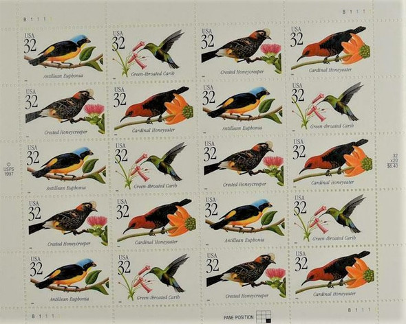 US (1998)- TROPICAL BIRDS- SHEET OF 20 #3225a