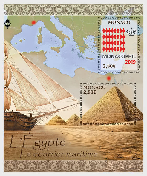 MONACO (2020) : Monacophil  2019-Ship & Pyramids Sheet