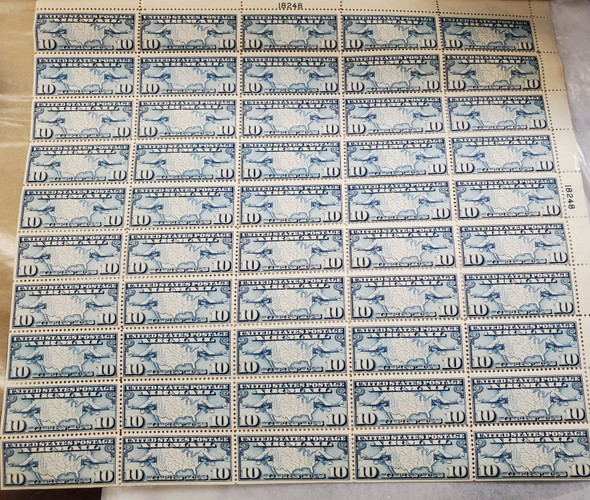 US (1927)- #c7 AIR MAIL- SHEET OF 50- MINT NH- SCV=$200!