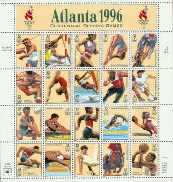 US (1996)- Atlanta Olympics Complete Mint Sheet w/First Day Ceremony Program!