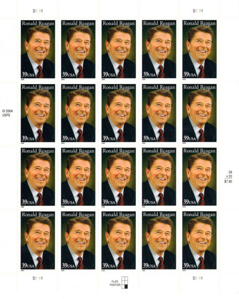 US (2005)- Ronald Reagan Sheet of 20 (39c) #4078