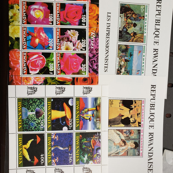 RWANDA COLLECTION OF15 SOUVENIR SHEETS, Flora, Snakes , Pope, Cars LAST ONES