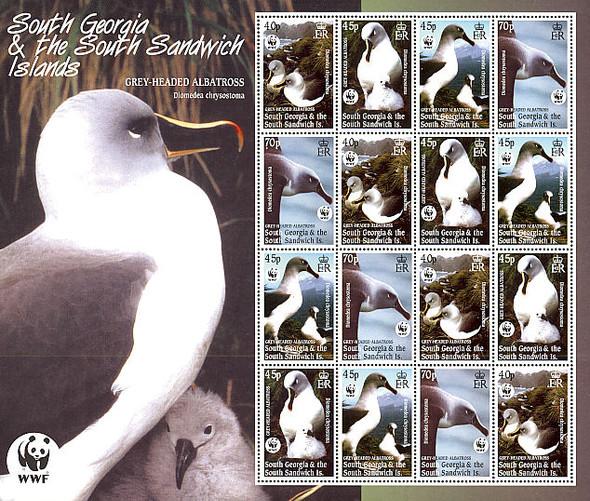 SOUTH GEORGIA (2003)- WWF ALBATROSS SHEET OF 16 (#293A)-CAT VAL=$44!