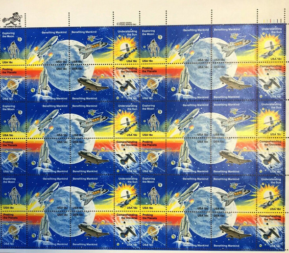 US (1981)- SPACE EXPLORATION SHEET OF 48 STAMPS (#1912A)