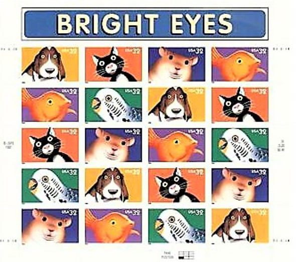 US (1998)- BRIGHT EYES (CARTOON ANIMALS) SHEET #3230-4