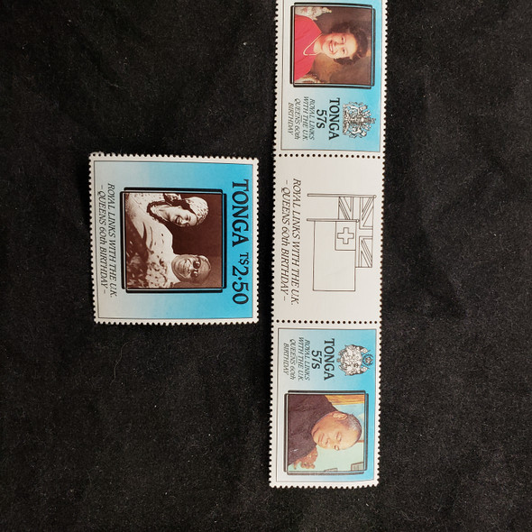 TONGA (1986) QEII, Royal Links To The Kingdom (3v)