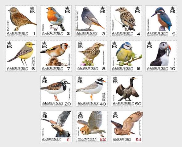 ALDERNEY (2020)- Bird Definitives- 16 values