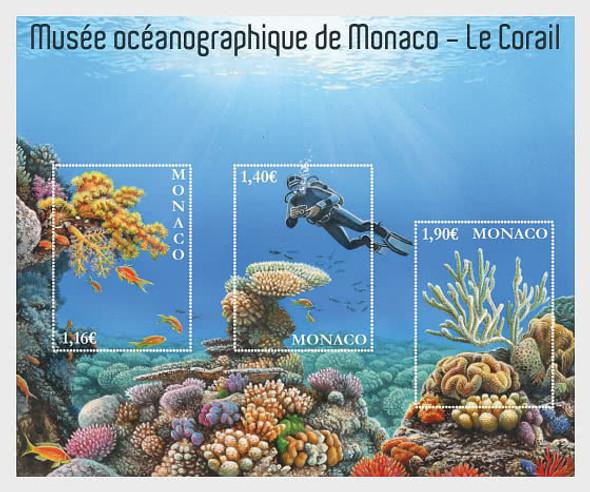 Monaco 2020)-  Oceanographic Museum Sheet- Diver, Coral, Fish