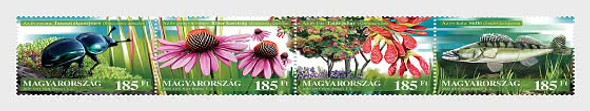 HUNGARY  (2020)-  FLORA & FAUNA STRIP OF 4v- BEETLE, MEDICINAL FLOWERS,,TREES,FISH