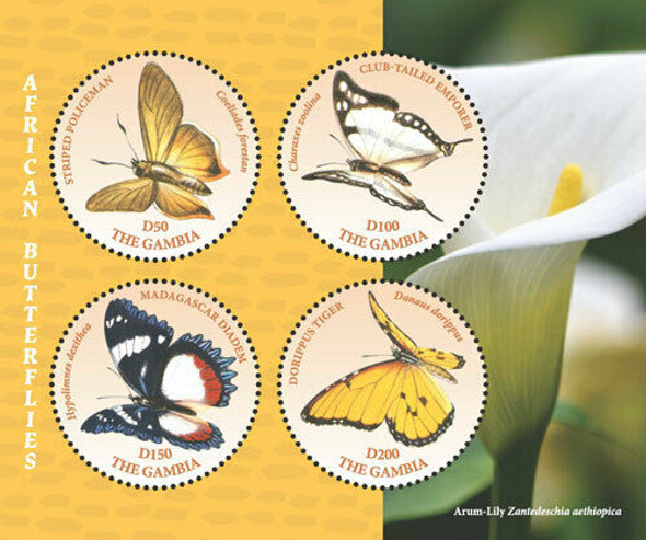 GAMBIA  (2020)- AFRICAN BUTTERFLIES & FLOWER DELUXE SHEETS (4)- CIRCULAR STAMPS