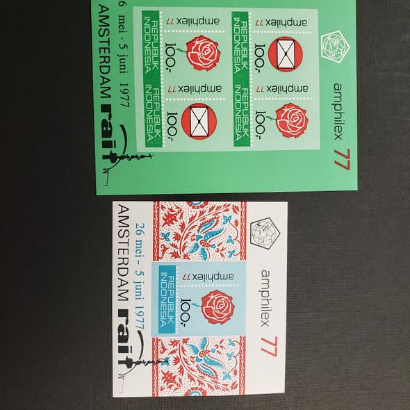 INDONESIA (1977)AMPHILEX , Rose Design,  SC# 999a and 1000a Imperf SS