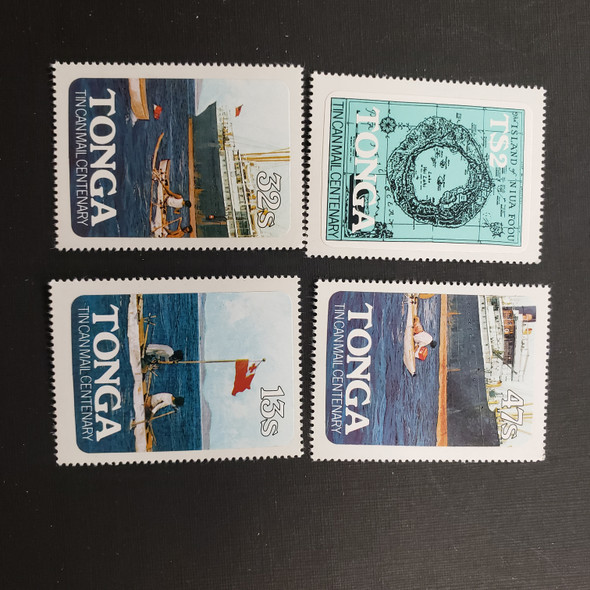 TONGA (1982) Tin Can Mail Centenary, Map, Ships,Canoe  (4v)