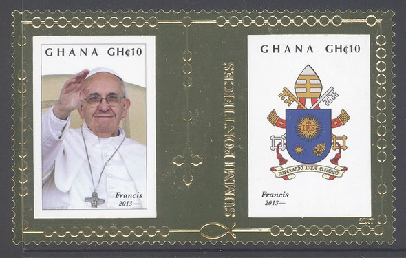 GHANA (2014)- Pope Francis Gold Foil Stamp- coat of arms