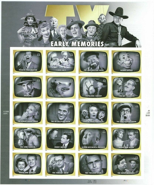 US (2008)- EARLY TV MEMORIES- #4414 SHEET OF 20- Lassie, Perry Mason, etc.