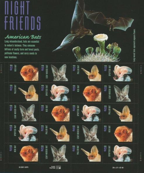 "US (2002)- ""Night Friends""- American Bats Sheet of 20- #3664"