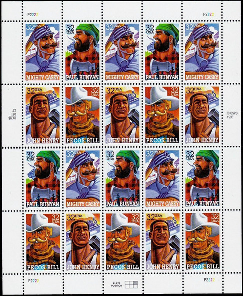 US (1996)- FOLK HEROES SHEET OF 20- #3086A-PAUL BUNYAN, MIGHTY CASEY, PECOS BILL, & JOHN HENRY