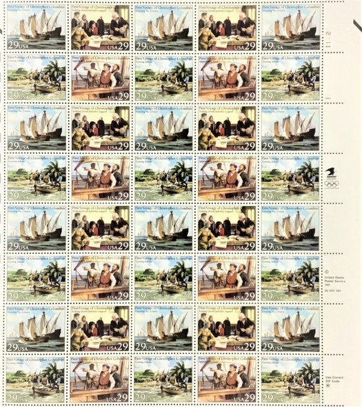US (1992)- FIRST VOYAGE OF COLUMBUS SHEET OF 40 STAMPS #2620-3