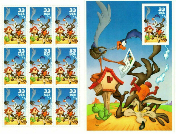 US (2000)- Wile E. Coyote & Road Runner Sheet & Commeorative Panel