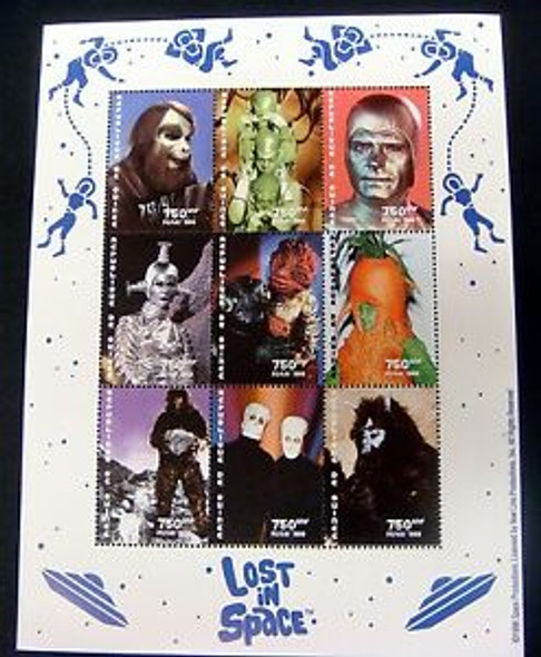 GUINEE (1988) 'Lost in Space' Sheet of 9 SciFi Characters- 1960's TV Series