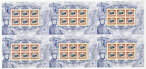 US (2013)- INVERTED JENNY REPRINT IMPERF.  PRESS SHEET - #4806b)