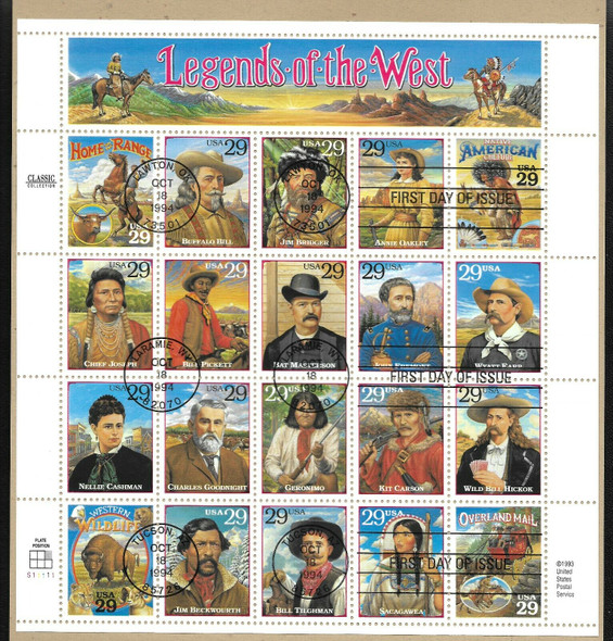 US (1994)- LEGENDS OF THE WEST FIRST DAY CEREMONY PROGRAM W/FIRST DAY SHEET CANCELLATION