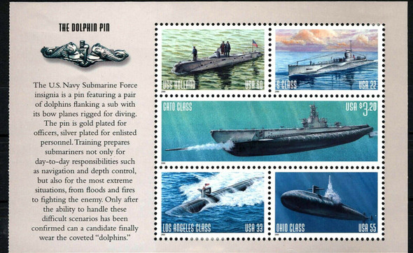 US (1999)- Navy Submarines Booklet Pane #3377a- Sheet of 5 stamps