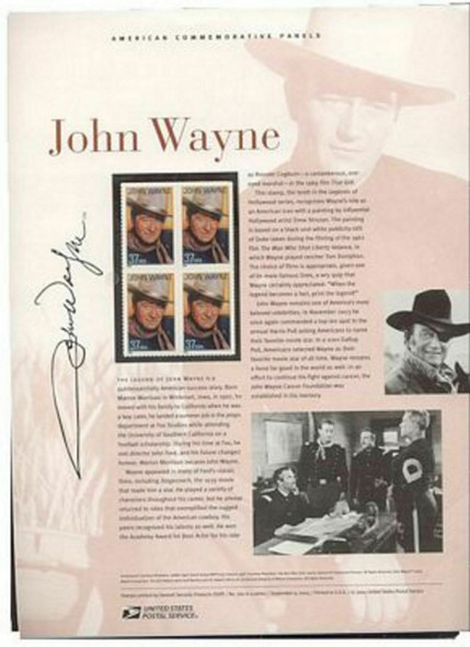 US (20040- #3876 37c John Wayne Legends of Hollywood USPS #720 Commemorative Panel