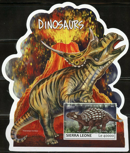 SIERRE LEONE (2017)- 2 DINOSAUR SHEETS (ODD SHAPED) -UNUSUAL!