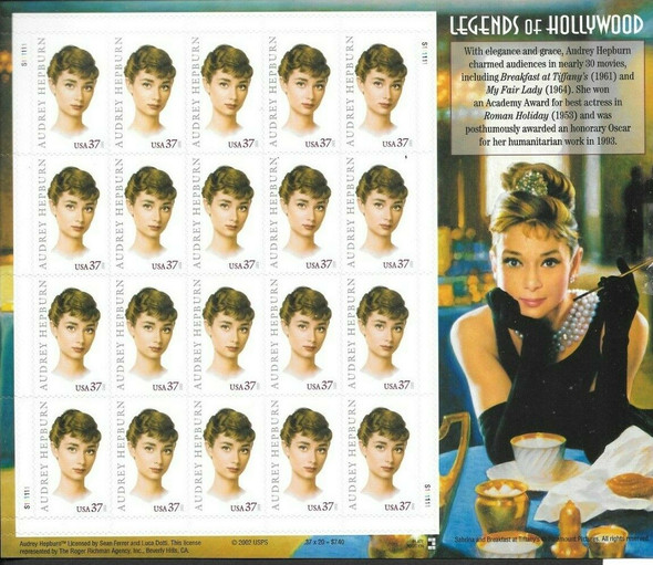 US (1999)- LEGENDS OF HOLLYWOOD- AUDREY HEPBURN SHEET OF 20v-#3786