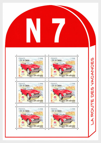 FRANCE 2020)- Cabriolet Car Sheet of 6 Stamps