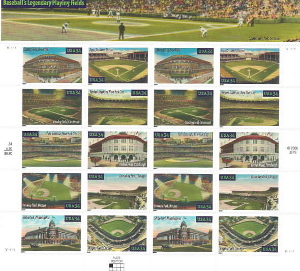 US  (2001)- BASEBALL PLAYING FIELDS SHEET OF 20 & POSTCARDS- #3519