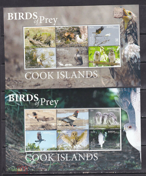 COOK ISLANDS (2020)- BIRDS OF PREY SHEETS OF 6V (2)