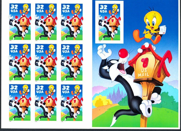 DISCOUNT POSTAGE LOT-  32c Sylvester & Tweety (32c) X 5- fv= $16!