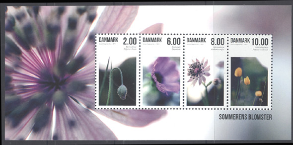 DENMARK (2012) - Summer Flowers- Sheet of 4