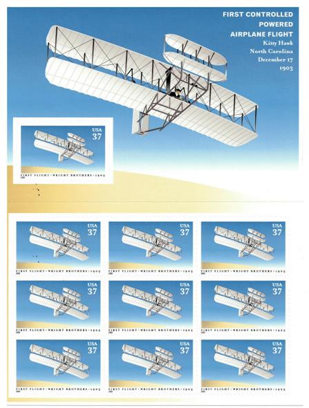 US (2004)- AIRPLANE FLIGHT AT KITTY HAWK SHEET OF 10- #3783
