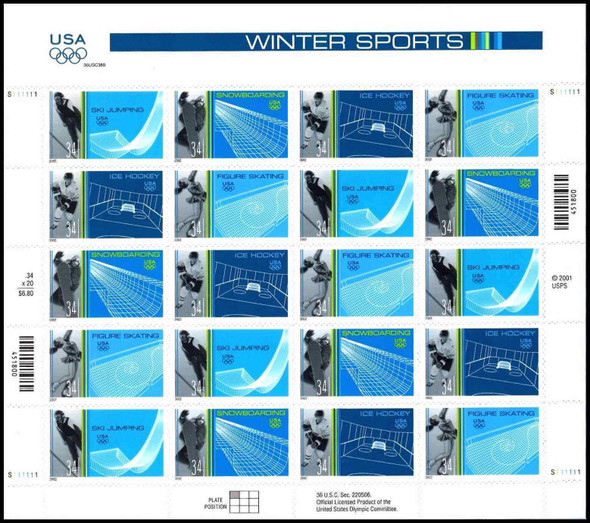 US (2002)- OLYMPICS WINTER SPORTS SHEET OF 20-#3552-5