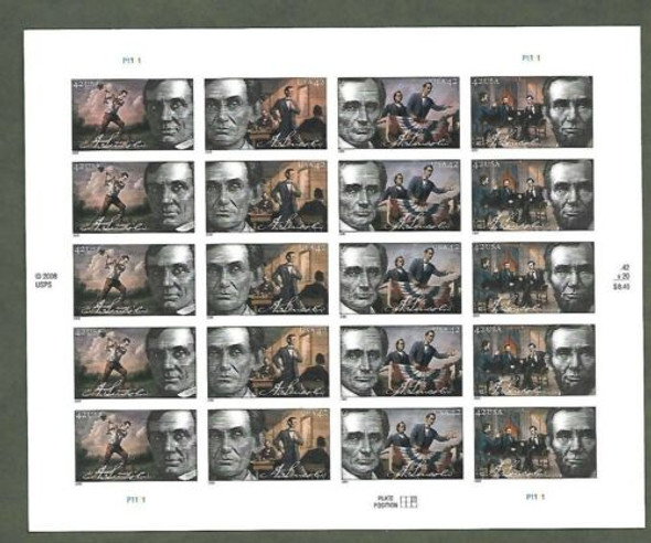 US (2008)- ABRAHAM LINCOLN SHEET OF 20- #4380-3
