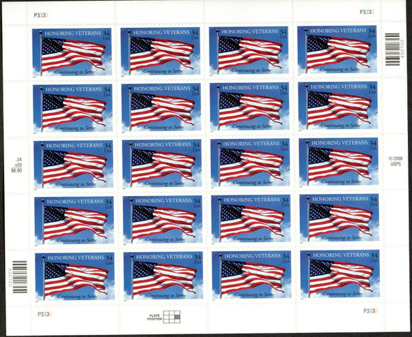 US (2001)- HONORING VETERANS (FLAG STAMP) SHEET OF 20- #3508