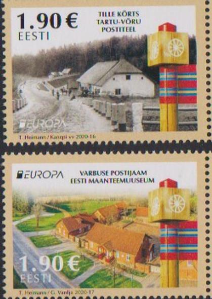 Estonia  (2020)- Europa- Ancient Postal Routes (2 values)