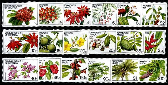 DOMINICA (1981)- FLOWER DEFINITIVES- 18 VALUES