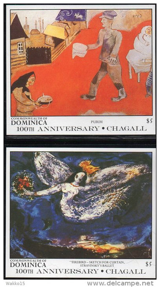 DOMINICA (1987)- Chagall Paintings - 2 souvenir sheets