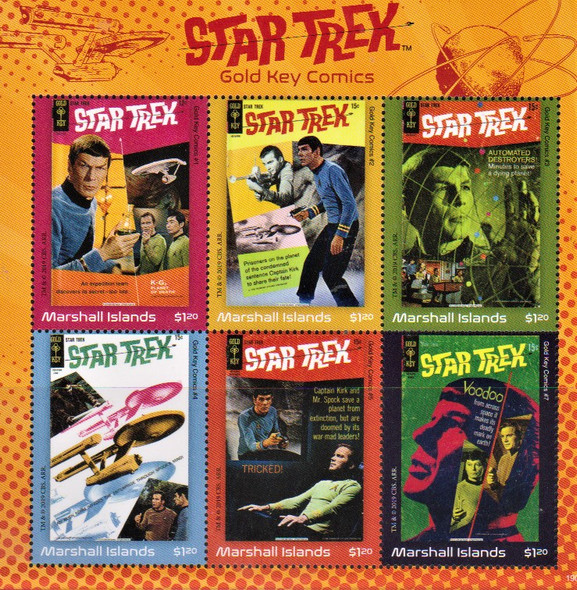 MARSHALL ISLANDS (2020)- STAR TREK (GOLD KEY COMICS) SHEET OF 6v