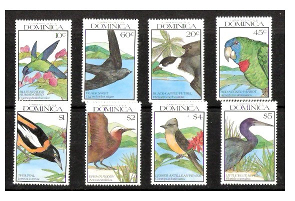 DOMINICA (1990)- BIRDS - SET OF 8